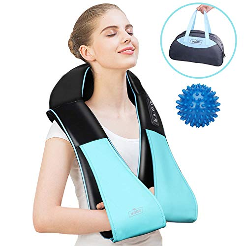 (Handheld Shiatsu Neck & Back Massager with Heat, 3D Electric Deep Tissue Kneading Self Massager for Neck-Back Shoulder Waite Arm Leg Upper Down - Foot Massage Ball for Full Body Muscle Pain Portable)