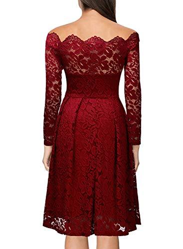 I Cocktail Vintage Floral corto donna Miusol rosso per Lace Abito qtw8xOS