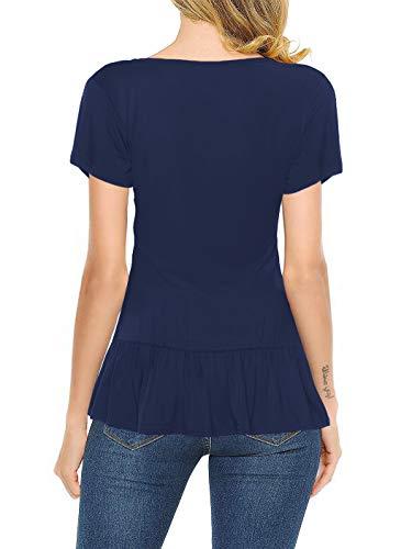 Florboom Womens Short Sleeve T Shirt Tops Ruffle Hem Tshirts Navy Blue XXL