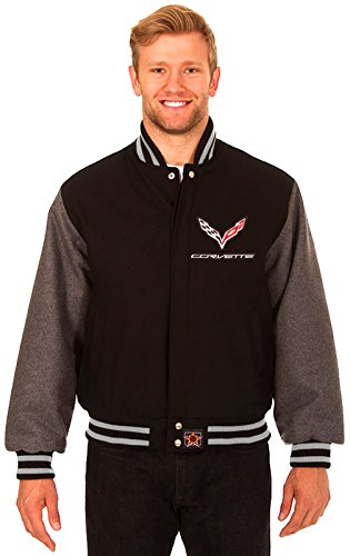 Chevy Corvette Men's Wool Jacket with Embroidered Applique Logos (Medium) by J.H. Design