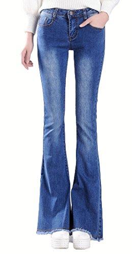 J-SUN-7 Women's Vintage Bell Bottom Low Waist Fitted Denim Jeans(Blue,US S/Asian28) (Make Bell Bottom Jeans)