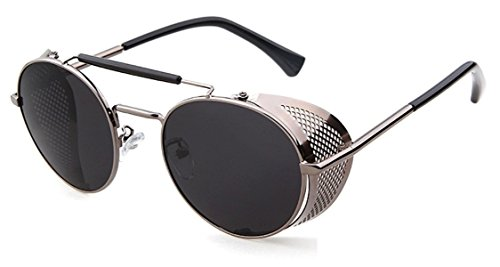 Round Shield Sunglasses - Flowertree STY056 Metal Frame Mesh Fold-in Side Shield Round 52mm Sunglasses (C3-grey+grey, 0)
