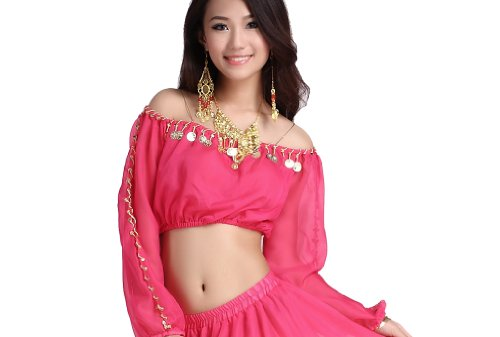 ZLTdream Lady's Belly Dance Long Sleeves Chiffon Top (Pink Ladies Dance Costume)