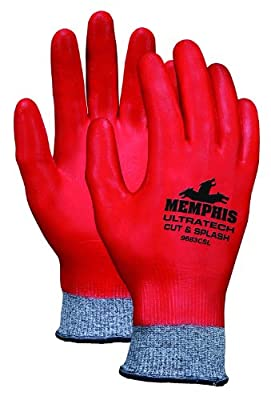 Memphis Glove UltraTech Cut and Splash Synthetic/Fiberglass Shell Gloves with Full Coated Red Nitrile