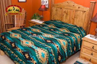 Navajo Pattern - Southwest Indian Style Bedspread-Navajo Pattern -Queen