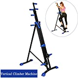 Vertical Climber Machine, Folding Climbing Cardio Workout Training Machine for Home Gym Exercise Fitness Equipment (Blue)