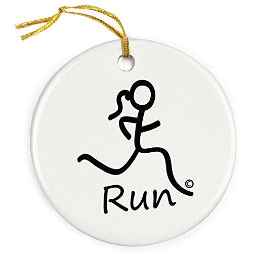 (Running Porcelain Ornament | Girl Stick Figure Run Ornament)