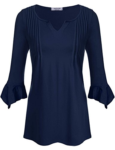 ANGVNS Womens V Neck Sleeve Pleated
