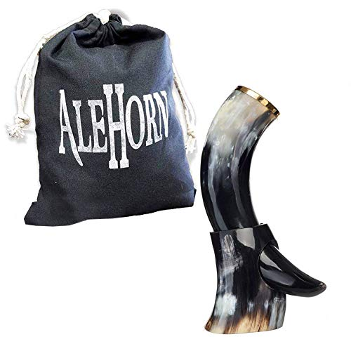 """AleHorn – The Original Handcrafted Authentic Viking Drinking Horn - 12"""" Polished - for Beer, Mead, Ale – Medieval Inspired – Food Safe Vessel - Curved Style with Stand"""
