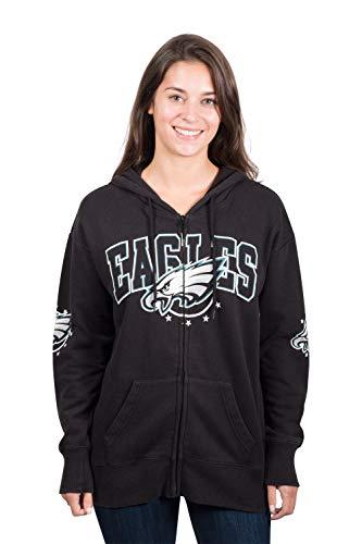 NFL Philadelphia Eagles Women's Full Zip Fleece Hoodie Sweatshirt Banner Jacket, Medium, Black ()