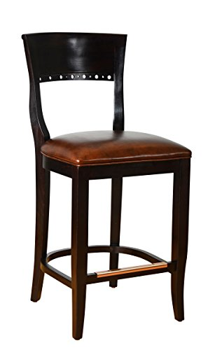 Wooden Counter and Bar Stool- Fully Assembled Solid Beech Wood Chair with Padded Faux Leahter Seat and Sturdy Wenge Back for Kitchen, Home or Commercial - BSD-6B24-WG by Beechwood Mountain