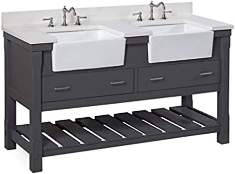 Includes A Quartz Countertop And White Ceramic Farmhouse Apron Sink Quartz Weathered Gray Weathered Gray Cabinet With Soft Close Drawers Charlotte 36 Inch Bathroom Vanity Bathroom Fixtures Kitchen Bath Fixtures Guardebem Com