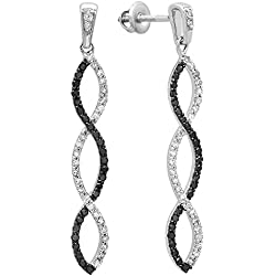 0.65 Carat (ctw) 10k White Gold Black & White Round Diamond Ladies Earrings