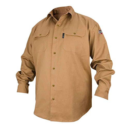 REVCO BLACK STALLION FR FLAME RESISTANT COTTON WORK SHIRT - FS7-KHK LARGE
