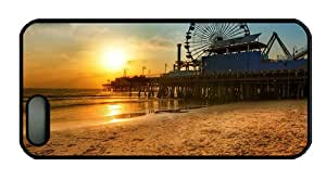 Hipster iphone 5S thin case Los Angeles dock Ferris wheel Beach sunset PC Black for Apple iPhone 5/5S