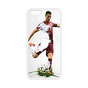 iPhone 6 Plus Cases Cristiano Ronaldo Real Madrid with Football Cheap For Girls, Case For Iphone 6 Plus Cheap Bloomingbluerose, [White]