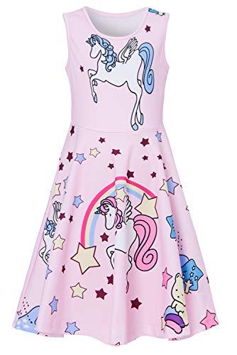 RAISEVERN Toddler Girl's Unicorn Dress Sleeveless Sundress Cute Round Neck Rainbow Pink Stars Dresses Summer Holiday Beachwear for Child 4-5T