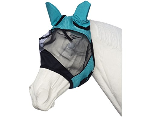 Tough 1 Deluxe Comfort No Nose Fly Mask Turquoise by Tough 1