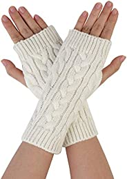 uxcell Men Women Winter Wrist Warmer Stretchy Elastic Thumbhole Knitted Fingerless Gloves