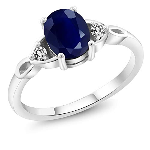 Gem Stone King 1.86 Ct Oval Blue Sapphire White Diamond 925 Sterling Silver 3 Stone Ring (Size 8)