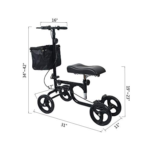 ELENKER Steerable Knee Walker Deluxe Medical Scooter for Foot Injuries Compact Crutches Alternative Black by ELENKER (Image #2)