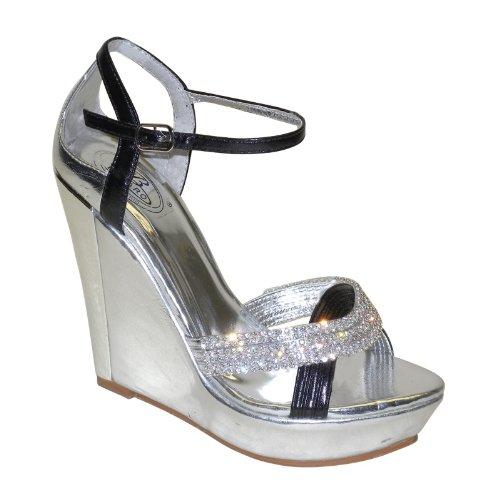 New Brieten Women's Rhinestone Cross Ankle Strap Wedge Platform Dress Party Evening Sandals B00IFUMFYG 7.5 B(M) US|Silver& Black