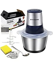 Electric Food Processor, Electric Meat Grinder,Mini Chopper,2L Food Grade 304 Stainless Steel Bowl, 4 Sharp Blades ,300W Max Motor Efficient Kitchen Appliance, Fast & Slow 2-Speed Food Processor