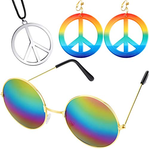 meekoo 60s 70s Hippie Dressing Accessory Set, Include Peace Sign Earrings and Necklaces, Hippie Style Glasses for Theme Party or Halloween (Color 1) -