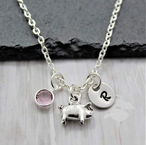 Pig Necklace - Silver Pig Shaped Jewelry - Pig Lover Gifts - Personalized Birthstone and Initial - Fast Shipping
