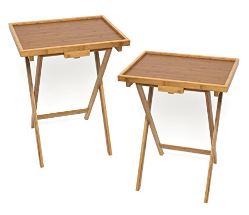 Lipper International Bamboo Lipped Snack Table, Set of Two, Bamboo by Lipper International