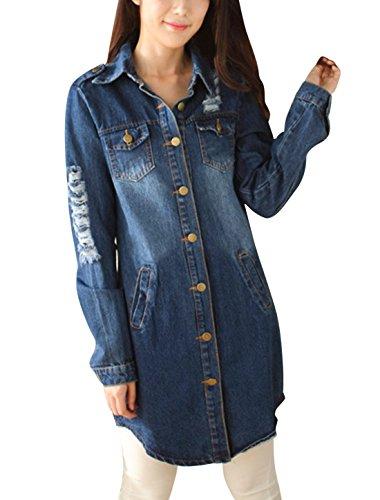 Women Button Down Pockets Destroyed Tunic Denim Jackets Navy Blue XS