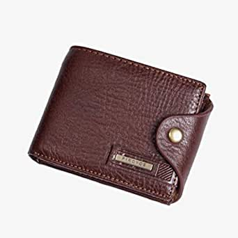 Brown Men Wallet Leather Short Multi-functional wallet
