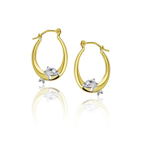 Decadence Women's 14k Two-Tone Gold Dancing Dolphin Hoop - Dolphin Tone Two