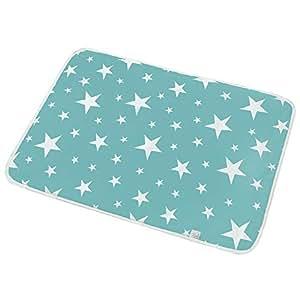 OuYou 1 Piezas Almohadilla de Cuna Impermeable Colchón Pañales Cambiador Pad Plegable Colchón Bebé Lavables Cama para Bebés (70 × 50cm) (2C)