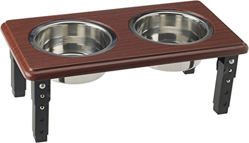 Adjustable Double Feeding Station Diner - Premium Quality - Elevated, Non-Skid, Oak - Wood tone, 3-Quart - Steel Bowls - POSTURE-PRO Raised Dog Feader