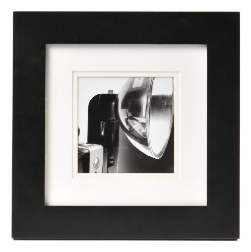 Carr Square Black Gallery Frame with White Double Mat for a 5-Inch by 5-Inch - Black Square Frames