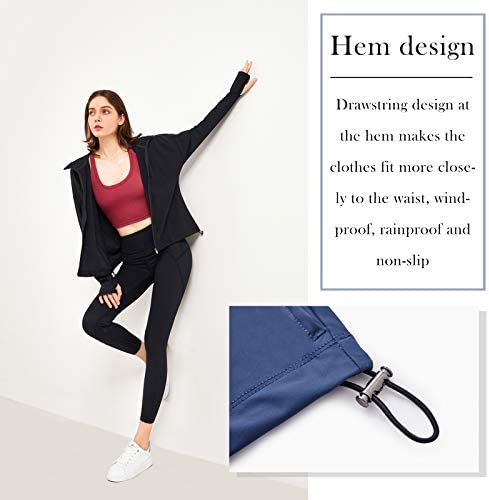 TheyLook Womens Hooded Running Jacket Quick-dry Lightweight Track Jacket Full Zip Workout Yoga Jackets with Thumb Holes