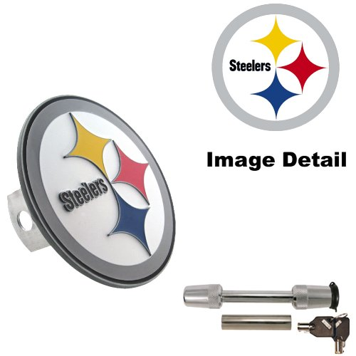 Pittsburgh Steelers Truck SUV Trailer Vehicle Solid Metal Brushed Chrome Hitch Plug Receiver Cover & Universal Trimax TS32 Receiver Hitch Pin Lock Set