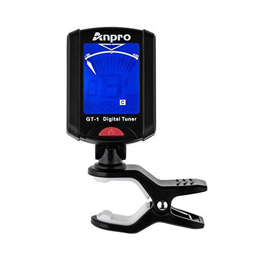 Anpro JT-10 Mini Clip-On Digital Tuner Stimmer + 12 x Plektrum Plektron Picks mit 3 verschiedene Stärken + 1 x Pickholder, Plektrumhalter für Gitarre, Bass, Violine, Ukulele, Chromatisches Stimmgerät