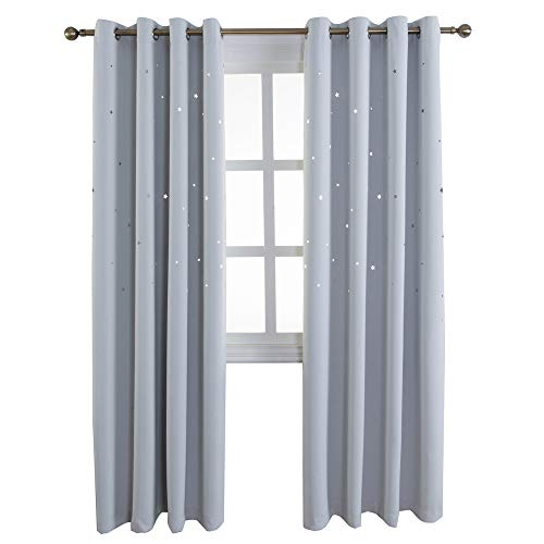 MANGATA CASA Hollow Star Blackout Curtains Window Drapes for Cut Twinkle Stars Panels(Greyish White, 2Panels, 52x84Inch)