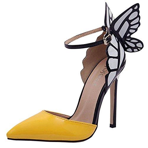 Azbro Mujer Estiletes de Tacón Alto Adorno de Mariposa Lujosa Amarillo