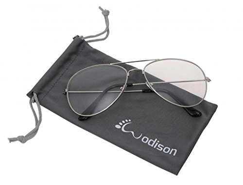 WODISON Vintage Reflective Mirror Lens Metal Frame Aviator - Clear Stores Glasses In Aviator