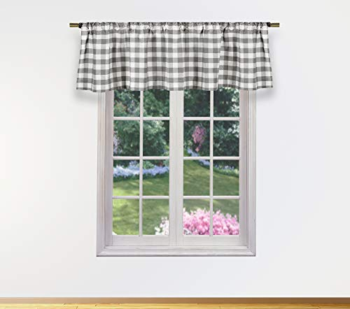Bathroom And More Collection Kingston Plaid Gingham Checkered Curtain Valance Set for Small Kitchen Window, Cafe, Bath, Laundry or Bedroom, 58 X 15 Inch, Gray