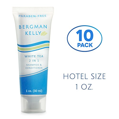 BERGMAN KELLY Hotel Shampoo and Conditioner, 2in1 Hotel Toiletries Bulk (10 Pack, 1Fl Oz) Travel Size Shampoo Amenities for Guest Hospitality, Motel, Air BnB, Gym; Luxury Shampoo Conditioner for Hair