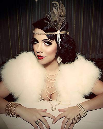 SWEETV 1920s Headpiece Flapper Headband, Pearl Peacock Feather Fascinator, Great Gatsby Accessoreis for Women, Champagne ()