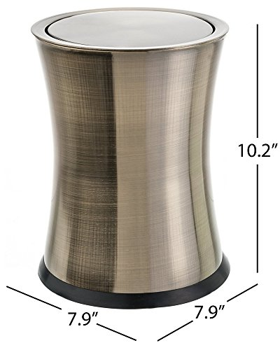 (Bennett Swivel-A-Lid Small Trash Can, Stainless Steel Attractive 'Center-Inset' Designed Wastebasket, Modern Home Décor, Round Shape (Brass) )