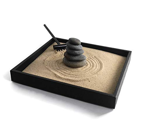 Garden Desktop Gift Ideas for Office Decor Relaxing Desk Accessories - Handmade Natural Mini Zen Garden Kit with Stackable Rocks Nature Decor for Relaxation and Stress Reduction ()