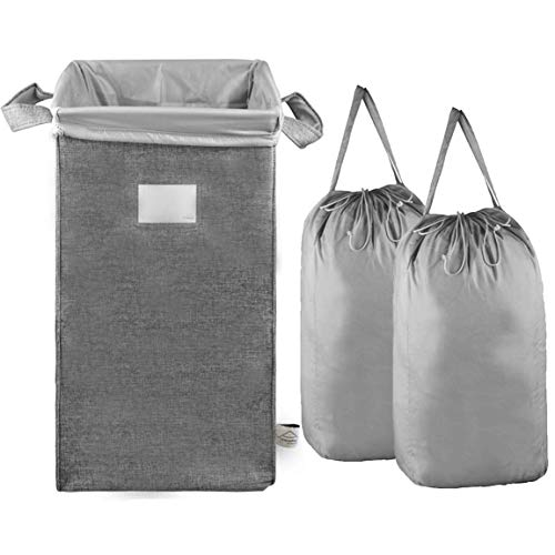 MCleanPin Large Laundry Hamper Collapsible with 2 Removeable Laundry Bags & Sorting Card, Dirty Clothes Hamper Durable Linen, 2 Handles Foldable Hamper Dorm Room Storage Trunks for College,Grey