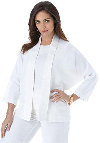 Jessica London Women's Plus Size Linen Jacket – 12, White