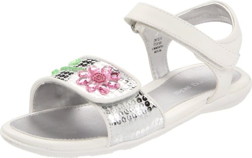 Jumping Jacks Dazzle Ankle-Strap Sandal (Toddler/Little Kid/Big Kid),White/Silver Trim,9 M US Toddler by Jumping Jacks